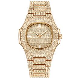 Hip Hop Bling Diamond Watch para hombre oro banda de acero inoxidable hombres de negocios de cuarzo relojes hombre impermeable Relogio masculino envío de la gota