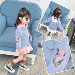 $enCountryForm.capitalKeyWord Australia - kids designer jackets Girls denim jacket suit skirt letter sweater dress tide clothes girls 2019 autumn new Korean Embroidered denim jacket