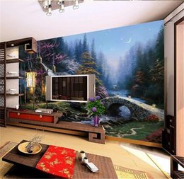 $enCountryForm.capitalKeyWord NZ - custom size 3d photo wallpaper room mural house bridge night view oil painting 3d picture sofa TV backdrop wallpaper non-woven wall sticker