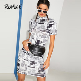 Dress H NZ - Romwe Newspaper Print Skinny Black And White Short Sleeve Straight H Stylish Women Stand Collar Dress Q190524