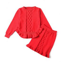 c4aca248bef26 2-6 ans 2019 automne hiver mode enfants vêtements fille vêtements ensemble  Volants rouge rose à tricoter Chandails princesse fille robe