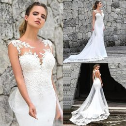 MerMaid white gown lace winter online shopping - 2020 New Lace Mermaid Wedding Dresses Satin Lace Applique Sweep Train Beach Boho Wedding Bridal Gowns Cheap BM1529