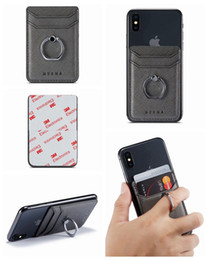 stickers for iphone cases NZ - Universal Metal Finger Ring Bracket Back Phone Card Slot 3M Sticker Leather For iPhone XS XR Note10 Stick On Cash ID Credit Card Holder Case