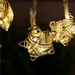 $enCountryForm.capitalKeyWord Australia - Wholesale- Battery Operated Fairy 10LED Metal Golden Star String Decoration Light Warm White LED Light For Halloween Christmas Party
