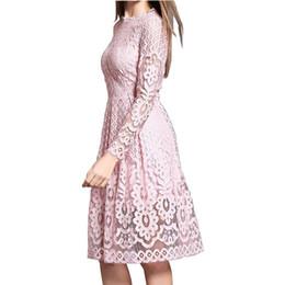 $enCountryForm.capitalKeyWord NZ - High Quality Women Bohemian White Lace Autumn Crochet Casual Long Sleeve Plus Size Pink white black red Dress Clothing