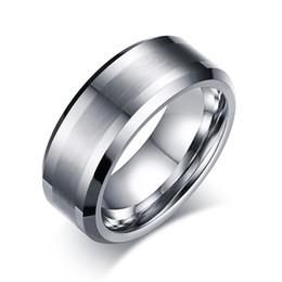 Опт Вольфрам обручальное кольцо кольцо 8 мм для мужчин женщин комфорт подходят скошенный край щеткой