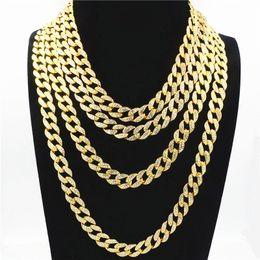 Chain Sets Figaro Australia - 2018 Europe and America micro-set Rhinestone Miami Cuban chain hipster hip hop men's 18 & 20&24&28 inch white Rhinestone necklace wholesale