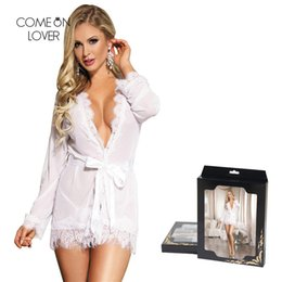 long sleeve lace sleepwear 2019 - Comeonlover Sexy Women Robe Lace Bath Robe Belt Sleepwear Long Sleeve Bridal Robes Transparent Hot Lingerie Bathrobe RT8