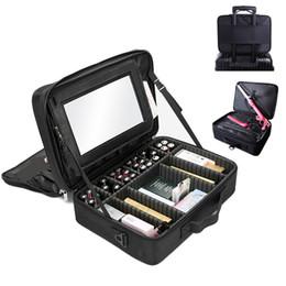 korean mirror box 2019 - Professional Makeup Organizer Portable Travel With mirror Cosmetic Storage Box Large-capacity Make Up Bag Beauty Nail To