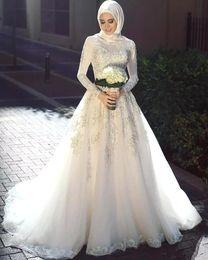 $enCountryForm.capitalKeyWord UK - Arabic Muslim Wedding Dresses with Long Trail Luxury Full Sleeves Woman Appliqued Hijab Wedding Bridal Gowns Robe De Mariage