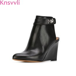 9f867b4fffe3 Knsvvli shark lock folder wedge heels ankle boots women pointed toe black  summer boots ladies slingback leather shoes fashion