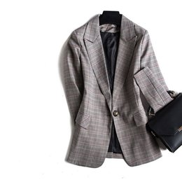 $enCountryForm.capitalKeyWord Australia - fashionOne Grain Buckle Ma'am Small Suit Autumn Suit Collar Slim Lattice Loose Coat Femalee