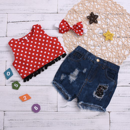 Three Piece Suit Bow Australia - Girls fashion sweet summer new trend dot no short sleeves hole denim shorts bow tie three sets of children's clothing children's suit