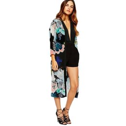 cover up jackets Canada - Coats And Jackets Women Summer Fashion Women Boho Printed Chiffon Shawl Long Kimono Cardigan Tops Cover Up Blouse Causal Outwear