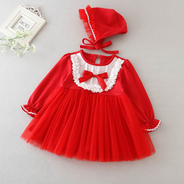 $enCountryForm.capitalKeyWord NZ - 2019 New Baby Girl Christening Gown Red White Lace New Year First Birthday Baptism Dress+Hat Infant Clothing 9797BB