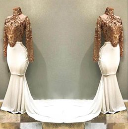 $enCountryForm.capitalKeyWord Australia - Gold White High Neck Prom Dresses Sweep Train Appliqued Sequined Mermaid 2019 Long Sleeves Evening Party Ball Gown Custom Made vestido