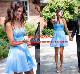 90fff39d35 Sweetheart Appliqued Blue Chiffon Homecoming Dresses 2019 Beading Pearls Short  Prom Dress Graduation Mini Cocktail Party Gowns Under 100