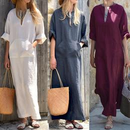 2331decea7 Celmia Women Vintage Linen Dress 2019 Summer Sexy V Neck Long Sleeve Split  Pockets Casual Loose Long Maxi Vestido Robe Plus Size Y19012201