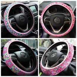 Опт Цветочный дизайн Изолированная неопреновая автомобильная крышка рулевого колеса с защитой от скольжения и пота