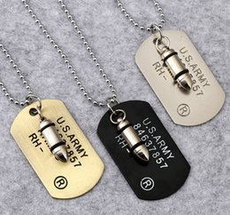 $enCountryForm.capitalKeyWord NZ - Army Style Bullet Dog Tag Pendant Necklace Women Men Punk Rock Hip Hop Chains Stainless Steel Cool Military Card Jewelry Gifts