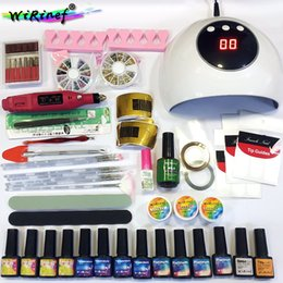 gel led dryers NZ - WiRinef 12pcs Nail Gel Polish Set With Base Top Coat UV LED Lamp Dryer Mini Electric Manicure Polisher Manicure Tools Nail Set