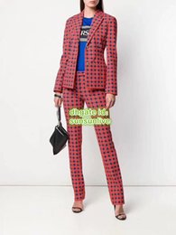 Vintage trousers girl online shopping - Women Vintage Plaid Striped Two Piece Pants The Top Quality Casual Girls Blazer Tops Shirt Jacket Coat Pants Trouser Runway Female Suit Set