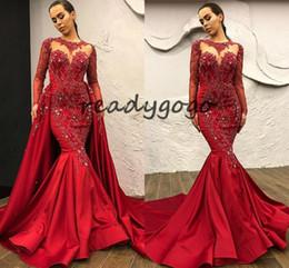 Lace Mermaid Dress Diamonds Australia - Modern Red Mermaid Evening Dresses Long Sleeve Satin Diamond Women arabic dubai Prom Dress With Detachable Train Robe de soiree