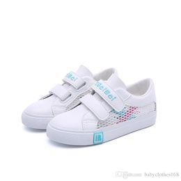 Kids Canvas Shoes Australia - Kids Boys Girls Canvas Sneakers Adjustable Strap Slip On Little Kid Lightweight Runner Tennis Shoes white