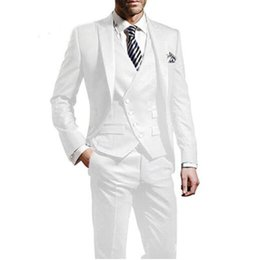 Slim fit Shiny Suit online shopping - Shiny White Groom Tuxedos Peak Lapel Slim Fit Groomsman Wedding Tuxedos Men Prom Party Jacket Blazer Piece Suit Jacket Pants Tie Vest