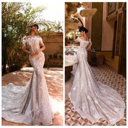 Slim full lace wedding dreSS online shopping - 2019 Bateau Neck Full Lace Mermaid Wedding Dresses Bridal Gowns Modern Beading With D Flowers Sleeves Luxury Garden Bridal Gowns Slim
