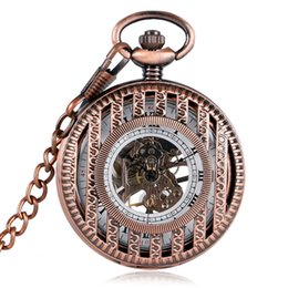$enCountryForm.capitalKeyWord Australia - Rose Gold Hollow Half Hunter Mechanical Pocket Watch for Women Men Vintage Pocket Pendant Chain Roman Numeral Hand Winding Clock