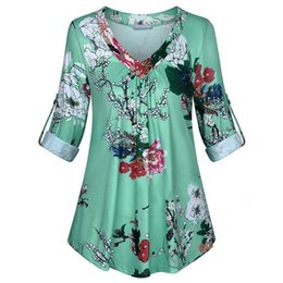 $enCountryForm.capitalKeyWord UK - New Women's Fashion Dresses in 2019 Autumn Long Sleeve Floral Print V neck Blouses And Tops With Button Big Size Women Clothing