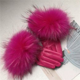 Pink Leather Gloves Australia - Women's Genuine Leather Glove Winter Warm Real Sheepskin & real Fur Gloves Fashion Style Natural Fluffy Raccoon Fur