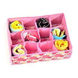 $enCountryForm.capitalKeyWord NZ - New 12 Grid Bag Non-Woven Fabric Folding Case Storage Box For Bra Socks underwear organizer for cloth print