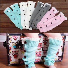 trendy knee socks UK - Kids Girls Children Knitted Button Lace Leg Warmers Trendy Trim Boot Cuffs Socks