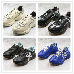Good Football Shoes NZ - 2019 Luxury Designer Dad Shoes Leather Low Top Sneakers Triple Blue Sport Casual Shoes Womens Good Quality Rhyton Vintage Trainers Sneakers