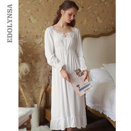 7c373b9f5 Sexy Slash Lace Up Sleep Wear Night Dress Vintage Nightgown Long Sleeve  Nightdress White Cotton Sleepwear Women Nightshirt T347 Y19042004