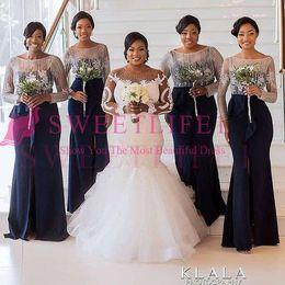 $enCountryForm.capitalKeyWord Australia - 2019 Elegant Long Sleeve Jewel Neck Bridesmaid Dresses Mermaid Navy Blue Front Split Maid Of Honor Wedding Guest Gown For Country Wedding