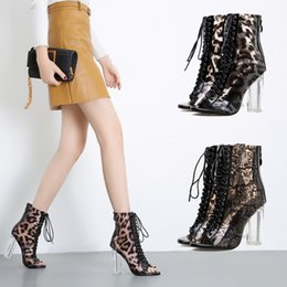 open toe leopard sandals Australia - 2019 Woman PVC Clear Leopard Fetish Peep Toe Boots Fashion Sexy Block 10.5cm High Heels Ankle Boots Sandals Party Lace Up Shoes