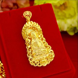 Hollow gold Heart cHains online shopping - 2019 sand gold not faded plating k gold fashion men s hollow big Guanyin pendant sand gold