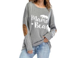 Elbow Patched Australia - Female Elbow Patch Loose Tops Tee Mama Bear Letter Print Round Neck Casual Top Women Color Block Long Sleeve T Shirt C19042101