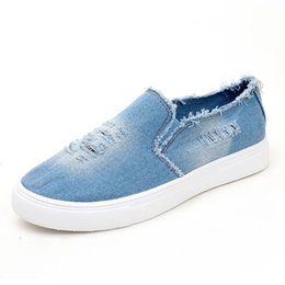 $enCountryForm.capitalKeyWord Australia - Denim Casual Shoes Washed Hole Flats Denim Loafers Slip-on Hole Flats High Quality Canvas Shoes New Arrival Casual Shoes 2019 hot