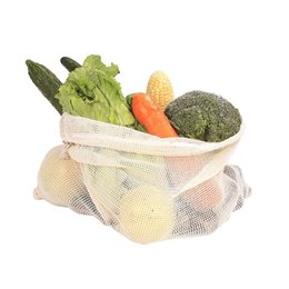 wholesale reusable drawstring bags UK - 3pcs Set Reusable Cotton Mesh Grocery Shopping Produce Bags Vegetable Fruit Fresh Bags Hand Totes Home Storage Pouch Drawstring Bag