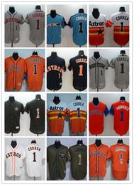 03e12f768 custom Men s women youth Houston Astros Jersey  1 Carlos Correa Blue Orange  Grey White Baseball Jerseys