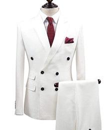 China 2 Pieces Wgite Double Breasted Solid 2-Piece Suit Slim Fit Notch Lapel One Button Tuxedo Jacket Pants Set Mens Suits Groom ( Blazer+Pant) cheap white chiffon pant suits long jacket suppliers