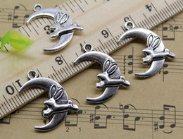 rabbit moon charms NZ - Wholesale 100pcs Moon Rabbit Alloy Charms Pendant Retro Jewelry Making DIY Keychain Ancient Silver Pendant For Bracelet Earrings 22x20mm