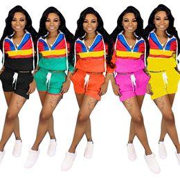 $enCountryForm.capitalKeyWord Australia - women 2 piece set Sportswear long Sleeve shirt shorts Summer Clothes Tracksuit Jacket pant Jogger suit Sweatsuit plus size S-3XL 888