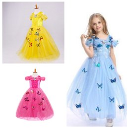 butterfly fairy dresses Australia - Butterfly dress snowflake diamond fancy costumes for kids blue gown Halloween baby girl butterfly dress performance dress 4color