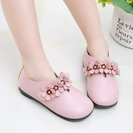 Kawaii Shoes NZ - 100459 Princess Fashion Brand Kids Shoes For Girls Children Leather Flats With Cute Flowers Kawaii Sweet Quality Sneakers