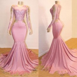 LiLac dresses online shopping - 2019 New Blush Pink Prom Dresses Jewel Neck Mermaid Sheer Long Sleeves Gold Lace Appliques Long Sweep Train Formal Party Dress Evening Gowns
